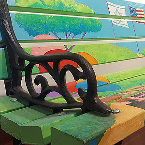 Colorfully Painted Park Bench